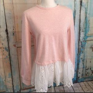 Nordstrom Marled Long Sleeve Pink Shirt White Lace